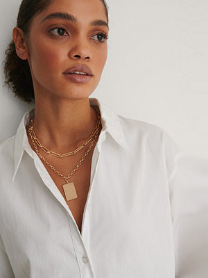 NA-KD Accessories smycke Halsband Med Kedja Och Platta guld