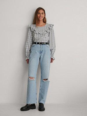 NA-KD Trend Ekologiska Raka Jeans Med Hög Midja Och Slitningar blå