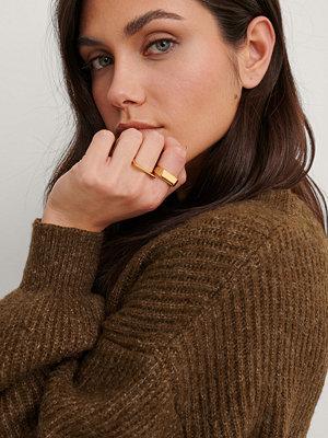 NA-KD Accessories smycke 2-Pack Guldpläterade Fyrkantiga Ringar guld
