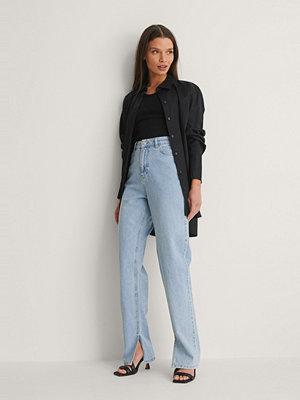NA-KD Trend Ekologiska Jeans Med Slits I Sidan blå