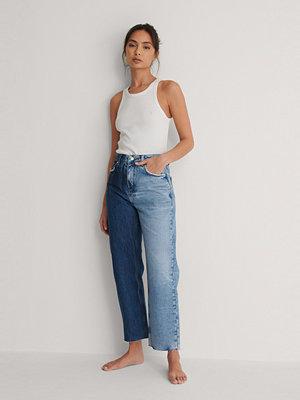 NA-KD Trend Raka Jeans Med Hög Midja blå