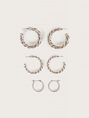 NA-KD Accessories smycke 3-Pack Tjocka Hoops silver