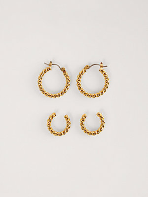 NA-KD Accessories smycke Dubbelpack Vridna Hoops guld