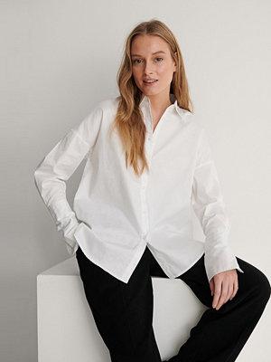 NA-KD Reborn Recycled Skjorta Med Breda Slag vit