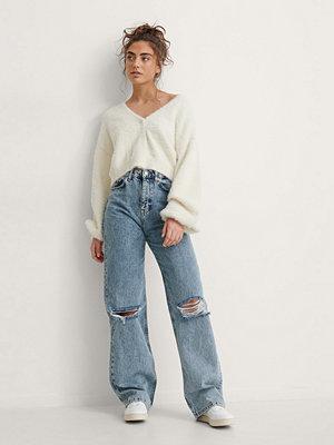 NA-KD Trend Jeans Med Vida Ben Och Acid Wash blå