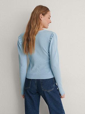 NA-KD Stickad Cardigan blå