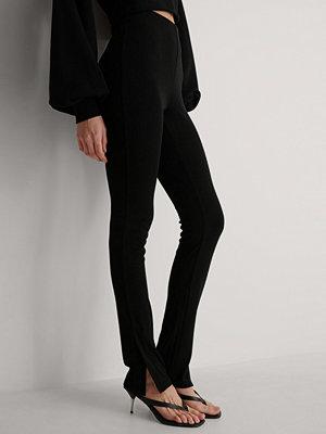 Leggings & tights - NA-KD Ribbade Byxor svart