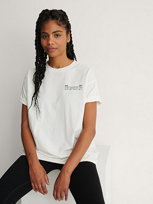 NA-KD Ekologisk Oversize T-Shirt Med Rund Hals vit