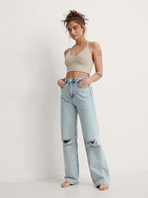 Jeans - NA-KD Trend Jeans Med Vida Ben Och Acid Wash blå