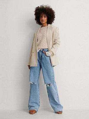 Jeans - NA-KD Trend Ekologiska Mjuka Rigid Jeans Med Vida Ben Och Slitningar blå