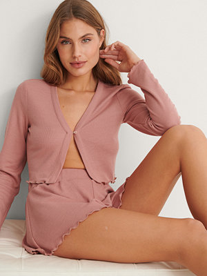 Toppar - NA-KD Lingerie Recycled Babylock Waffle Loungewear Top rosa