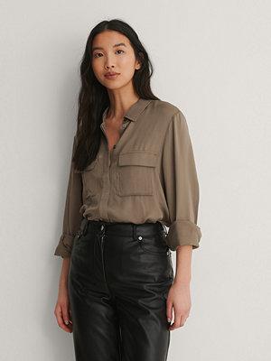 NA-KD Soft Double Pocket Shirt brun