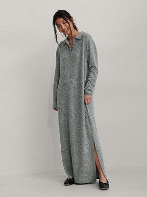NA-KD Trend Recycled Oversize Klänning Med Knappdetalj grå