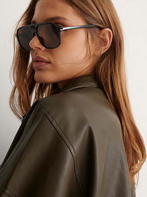 NA-KD Accessories Retro Pilotsolglasögon svart brun