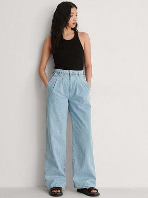 Trendyol Plisserade Jeans Med Hög Midja blå