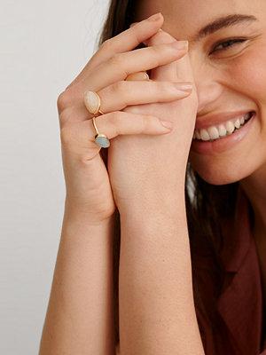 NA-KD Accessories smycke 3-Pack Ringar Med Färgade Stenar multicolor