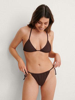 NA-KD Swimwear Smocked Tie Strap Bikini Panty brun