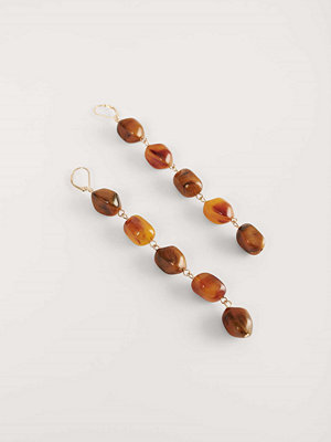 NA-KD Accessories smycke Droppörhängen Med Sköldpaddsstenar guld