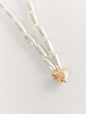 NA-KD Accessories smycke Halsband Med Hjärthänge vit