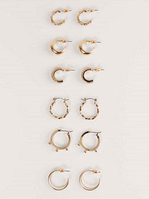 NA-KD Accessories smycke 6-Pack Blandade Återvunna Minihoopsörhängen guld