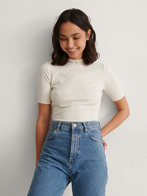 Calvin Klein Ribbad T-shirt Med Logga vit