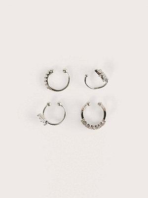 NA-KD Accessories smycke Dubbelpack Återvunna Glittrande Örhängen silver