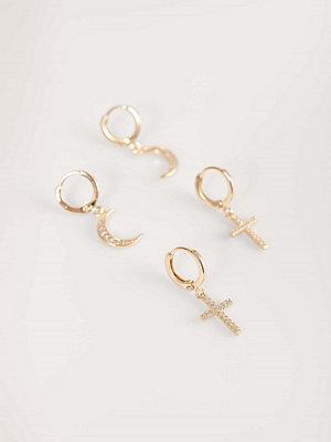 NA-KD Accessories smycke Recycled Örhängen Med Måne Och Kors guld