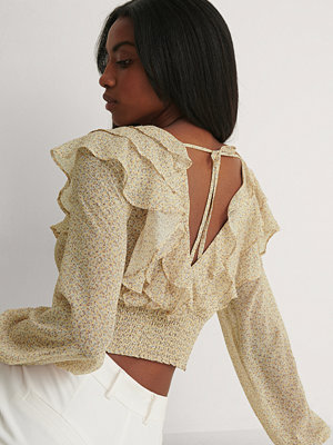 NA-KD Boho Recycled Blus Med Volanger gul