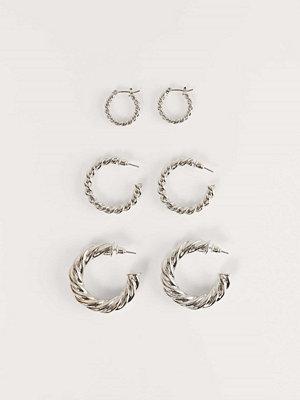 NA-KD Accessories smycke 3-Pack Supertjocka, Återvunna, Vridna Hoopsörhängen silver