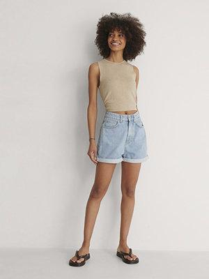 NA-KD Trend Ekologiska Mom Shorts Med Uppvik blå