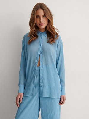 NA-KD Trend Oversize Skjorta blå