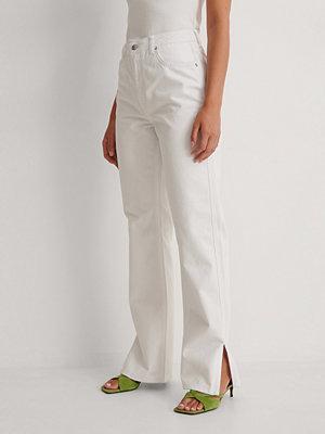Jeans - NA-KD Trend Raka Jeans Med Hög Midja Och Sidoslits vit