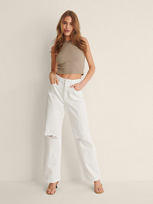 NA-KD Trend Ekologiska Jeans Med Vida Ben vit