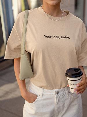 NA-KD Ekologisk Ekologisk T-shirt Med Tryck beige