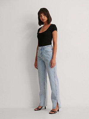 Jeans - NA-KD Trend Raka Jeans Med Hög Midja Och Sidoslits blå