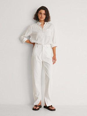 Jeans - NA-KD Trend Ekologiska Jeans Med Slits I Sidan vit