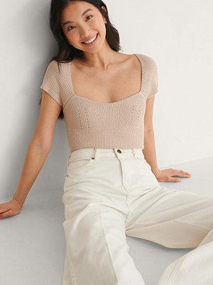 NA-KD Trend Bröstdetalj Stickad Topp beige
