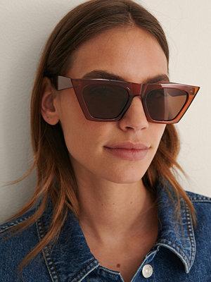 NA-KD Accessories Solglasögon Med Stor Ram brun