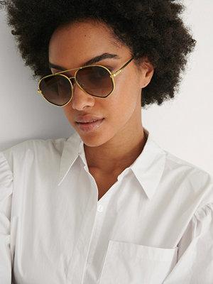 NA-KD Accessories Pilotsolglasögon Med Dubbel Metall brun