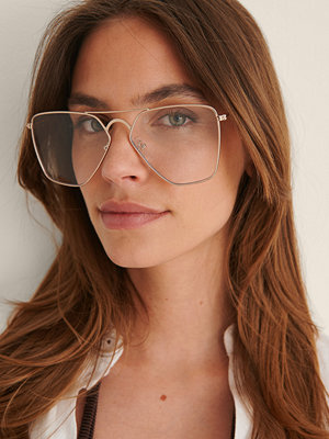NA-KD Accessories Solglasögon Med Stor Metallkant silver