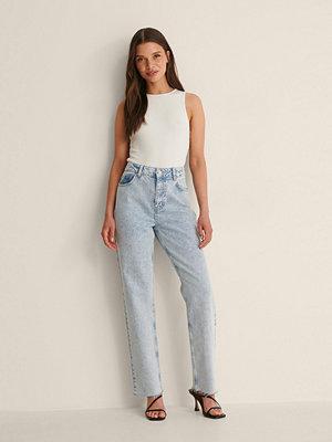 Jeans - NA-KD Trend Ekologiska Raka Denim Med Hög Midja blå