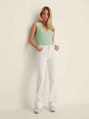 Jeans - NA-KD Ekologiska Stretch-denim Med Utsvängda Ben vit