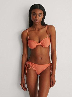 NA-KD Swimwear Recycled Rynkad Knuten Bikinitrosa orange