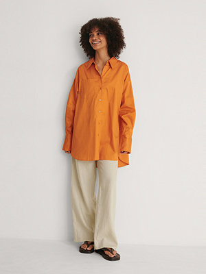NA-KD Trend Recycled Oversize Skjorta Med Ficka orange