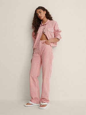 NA-KD Ekologiska Färgade Raka Jeans Med Hög Midja rosa