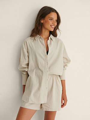 NA-KD Trend Oversized Skjorta I Linneblandning beige