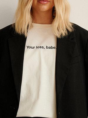 NA-KD Trend Ekologisk Ekologisk T-shirt Med Tryck offvit