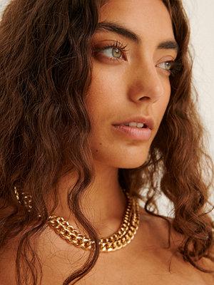 NA-KD Accessories smycke Återvunnet Halsband Med Dubbel Pansarkedja guld