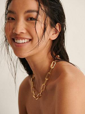 NA-KD Accessories smycke Återvunnet Ovalt Chunky Kedjehalsband guld