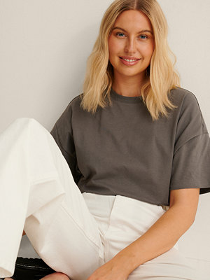 NA-KD Basic Ekologisk Oversize T-shirt Med 3/4-ärm grå
